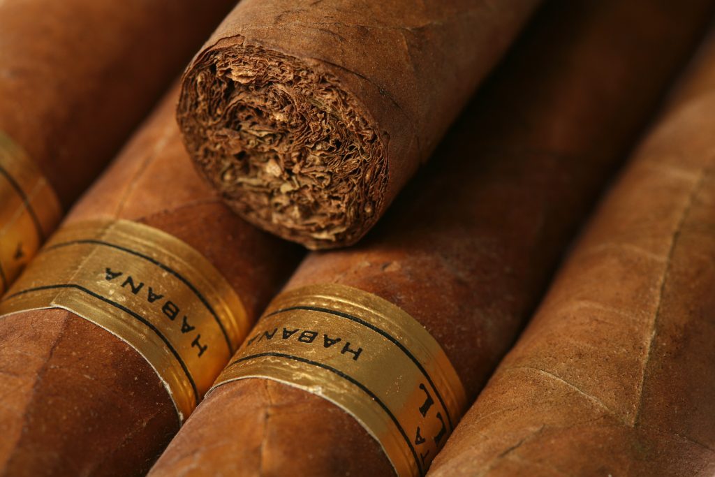 close up of cigars to accompany with champagne