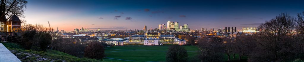 Panoramic view of London at night from the Royal Observatory in Greenwich