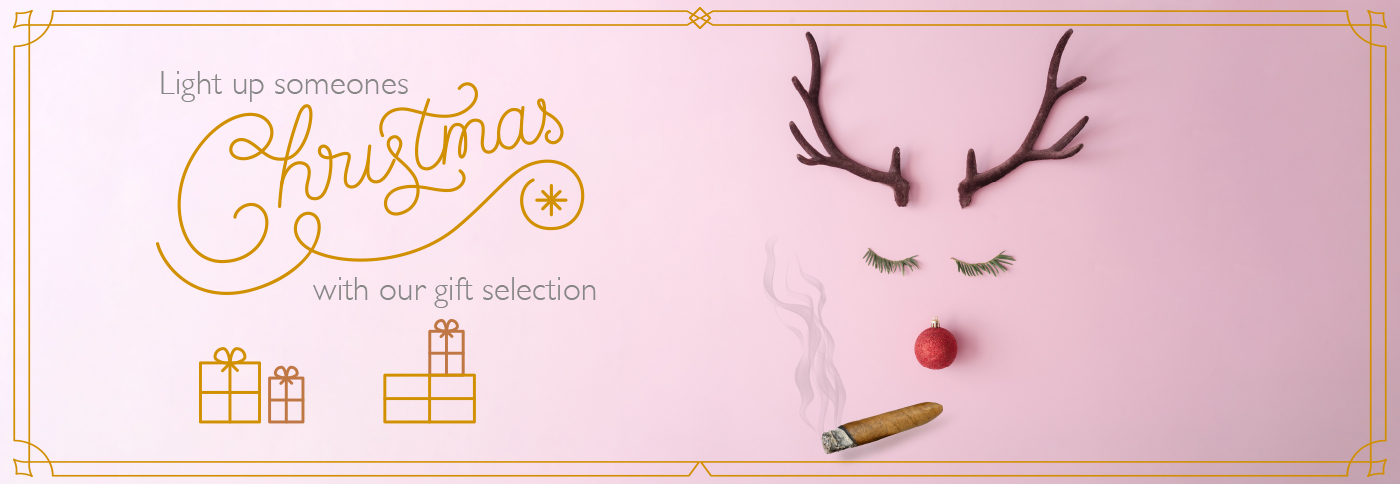 Pink Christmas Banner with a Reindeer smoking a cigar
